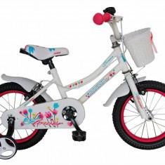 Bicicleta copii 14 FIVE Inkay cadru otel culoare alb roz roti ajutatoare varsta 3 5 ani