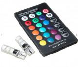 Cumpara ieftin Set 2 becuri LED auto RGB cu telecomanda