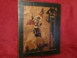 ICOANA PE LEMN VECHE - Pictata manual - Sf. Gheorghe - 31x26x2.5 - Stare buna !