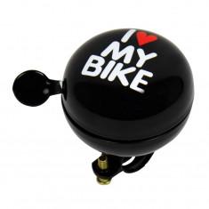 Claxon bicicleta I Love My Bike negru 60mm , sonerie bicicleta Kft Auto