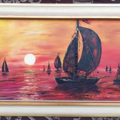 Tablou Peisaj marin 1975 pictura in ulei inramat 41x71 cm