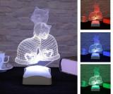 Lampa de veghe Kittens 3D - Evila Originals, Multicolor