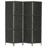 vidaXL Paravan cameră cu 4 panouri, negru, 154x160 cm, zambilă de apă