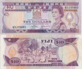 1980 , 10 dollars ( P-79a ) - Fiji - stare XF