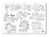 Plansa pentru colorat, reutilizabila, numere, silicon, 48 X 33.5 cm