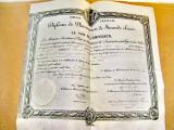 B685-I-Diploma Farmacie veche pergament Franta Imperiu 1860.