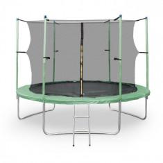 KLARFIT Rocket Start XXL trampoline 305cm siguranță scara net din aluminiu Capac verde