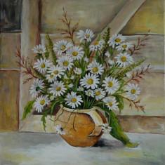 Natura statica cu margarete, Flori, Ulei, Realism