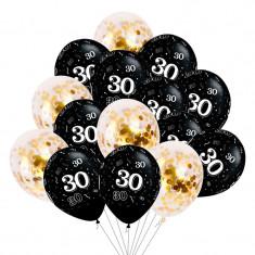 Buchet 15 baloane aniversare 30 ani din latex cu confetti Magic Black 12 inch