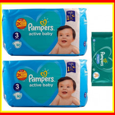 Pampers Scutece Nr 3 Active Baby Giant Pack, 6-10 kg, 180 Buc+Servetele Umede
