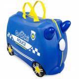 Valiza pentru copii Ride-On Masina de Politie Percy Trunki, Albastru, 46 cm