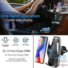 Suport Auto Cu Incarcator Wireless Fast Charge Si Senzor Inteligent, Samsung