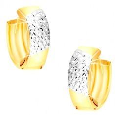 Cercei din aur combinat de 14K - linii din aur alb