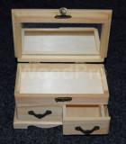 Cutie lemn cu oglinda si 2 sertare
