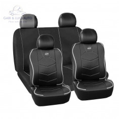 Huse scaune auto Audi A2 - Momo piele ecologica+material textil negru cu ornamente gri 11 Bucati