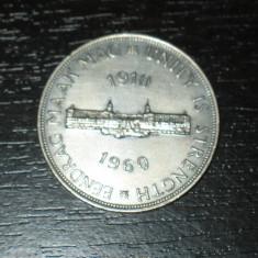Moneda argint comemorativa 5 shilingi Africa de Sud 1960, stare foarte buna