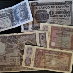 "Lot 5 Bancnote Spania - Reproduceri emise de "" Real Casa de la Moneda """