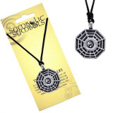 Colier din șnur - pandantiv metalic, trigrame, yin și yang