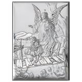 Icoana Argint Ingerul Pazitor trecand Puntea 18x24cm Argintiu COD: 3152