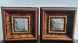 Original si unic SET doua picturi pe piele in relief - RAME LEMN DE EXCEPTIE, Abstract, Ulei, Art Deco