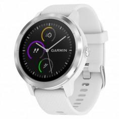 Ceas Smartwatch Garmin Vivoactive 3, Heart Rate monitor, GPS, Argintiu, curea din Silicon Alba