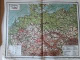 Hărți vechi Germania, Ceho-Slovacia, Austria, Ungaria (planse atlas 1924)