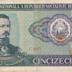 ROMANIA RSR 50 lei 1966  VF GRAFITI