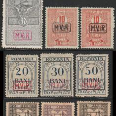 1917-1918 Ocupatia Germana in Romania - 9 timbre neuzate supratipar MViR caseta