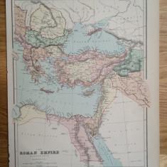 Harta a Imperiului Roman (partea estica), tiparita in 1873