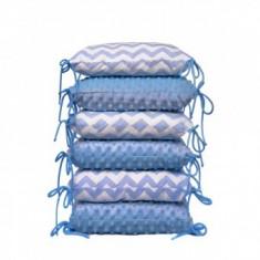 Set 6 pernute protectie laterala patut copii Zig-Zag Blue