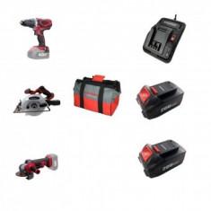 Set 3 scule cu acumulator Worcraft WSET-01, S20Li, Incarcator, 2 baterii incluse 4Ah, geanta