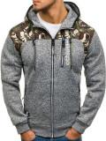 Bluză pentru bărbat cu glugă și fermoar camuflaj-gri Bolf HH515