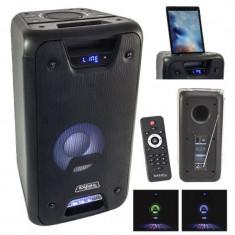 Boxa portabila 8 inch, USB, SD, Bluetooth, LED-uri colorate, 300 W