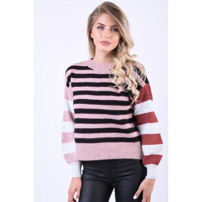 Pulover Vero Moda Iva Stripe O-Neck Roz foto