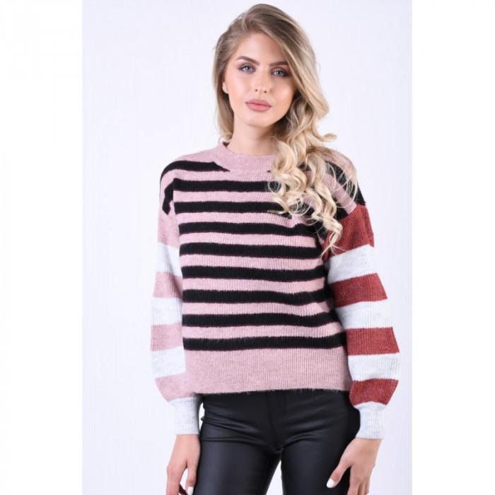 Pulover Vero Moda Iva Stripe O-Neck Roz
