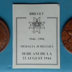 Medalia  50 de ani de la 23 August 1944 - Regele Mihai - Medalie + Brevet