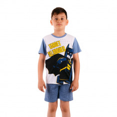 Pijama baieti Lego Batman Target All Rogues alba cu albastru