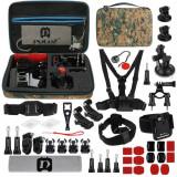 Kit 45+1 Accesorii PKT29 Puluz pentru Camera Video Sport DJI Osmo Action, GoPro, Cutie Depozitare, Camuflaj