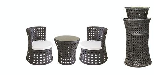 Set mobilier terasa, bar PALMA masa rotunda cu 2 fotolii din ratan Raki