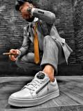 Pantofi pentru barbati, albi, cu siret, handmade, piele naturala, logo - BB472, 40 - 45