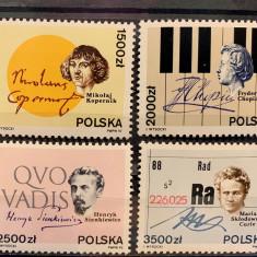 Polonia, personalitati, Copernic, Chopin, Marie-Curie, serie si bloc, 1992, MNH