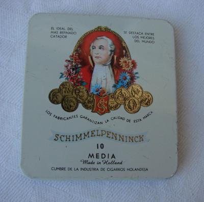 Cutie metalica veche de tigari inscriptionata SCHIMMELPENNINCK foto