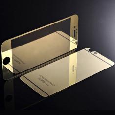 Folie Sticla iPhone 6 Plus iPhone 6s Plus Tuning GOLD Oglinda Fata+Spate Tempered Glass Ecran Display LCD