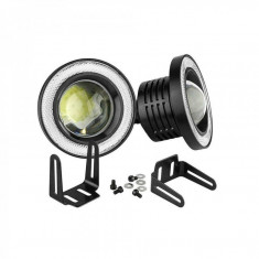 Set 2 proiectoare LED cu lupa si Angel Eyes 76mm