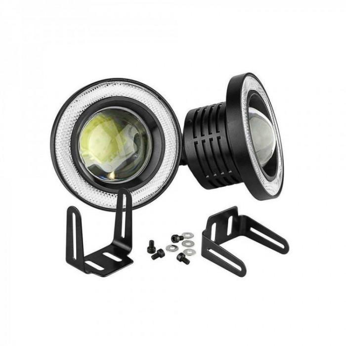 Set 2 proiectoare LED cu lupa si Angel Eyes 64mm