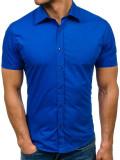 Cumpara ieftin Cămașă elegantă cu mâneca scurtă pentru bărbat albastră Bolf 7501, Maneca scurta