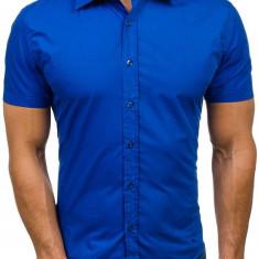 Cămașă elegantă cu mâneca scurtă pentru bărbat albastră Bolf 7501