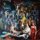 Cornel Vana-  Botezul pictorului iconar , ulei pe pinza 100 x 100 cm