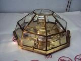 Lustră antică din alamă si geam cristal fasetat, Lustre