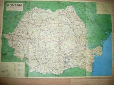 Harta Administrativa Rutiera si Turistica a Romaniei 1996 ,dim.= 92x64cm foto